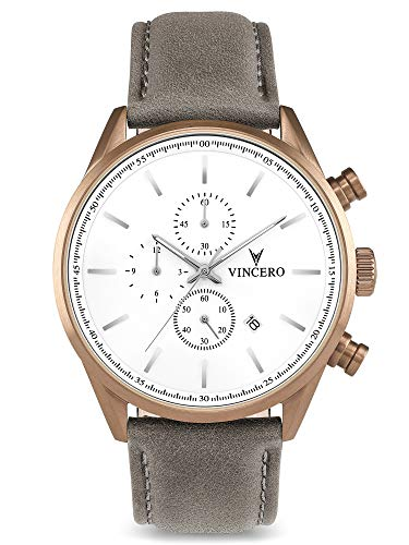 Vincero Luxury Men's Chrono S Wrist Watch - Top Grain Italian Leather Watch Band - 43mm Chronograph Watch - Japanese Quartz Movement (Khaki/Gray)
