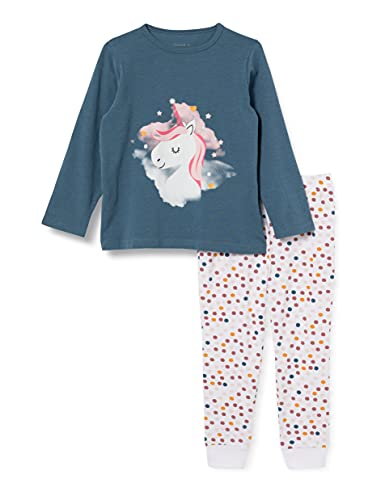 NAME IT Mädchen Nkfnightset Real Teal Unicorn Noos Pyjamaset, 134-140 (2er Pack)