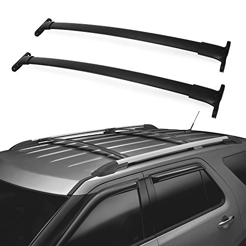 LEDKINGDOMUS Roof Rack Cross Bars Compatible for 2016-2019 Ford Explorer, Aluminum Luggage Crossbars Cargo Rooftop Carrier Carrying Canoe Kayak Bike Roof Bag
