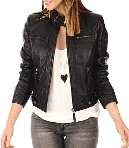 Womens Black Leather Bomber Motorcycle Biker Jacket