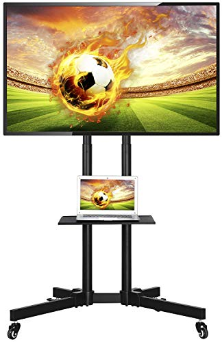 Yaheetech Mobile AV & TV Carts Stand for LCD LED Plasma Flat Screen Fits 32-65 Inch w/Castors Storage Shelf Cables/Wires Management Height Adjustable