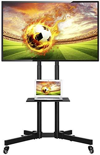 Yaheetech TV Ständer Mobile Standfuß Universal TV Wagen Trolley mit Ablage für 32–65 Zoll LCD LED, höhenverstellbar rollbar, bis zu 50kg