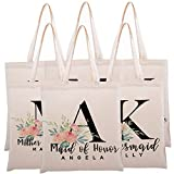 Personalized Tote Bag for Events Bachelorette Party Baby Shower Bridal Shower Bridesmaid Christmas Gift Bag   Customize Maid and Matron of Honor Gifts   Floral Initial   C1D04-Single