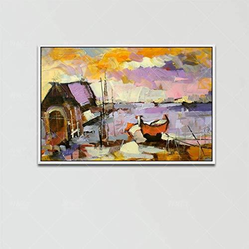 Pintura Al Óleo Pintada A Mano ,Arte De La Pared Pintura Al Óleo Sobre Lienzo 100% Pintado A Mano Cabina Abstracta Barco Paisaje Home Decoration Cartel De Arte Para La Sala De Estar Porche Decorac