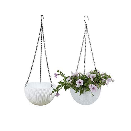 Batop 2 Stück Blumenampel Hängen Balkon Blumenampel Rattan Blumentopf Hängetopf für Garten, Balkon, Fensterbank (Weiß)