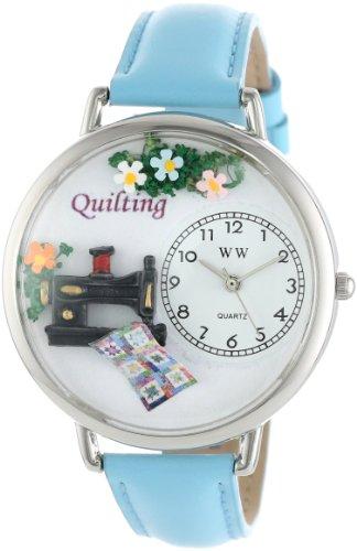 キルト 水色レザー シルバーフレーム時計 #U0450012