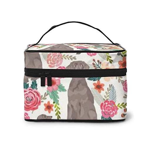 Chiens avec des Fleurs Voyage Maquillage Train Case Maquillage Cosmetic Case Organizer Portable Artist Storage Bag