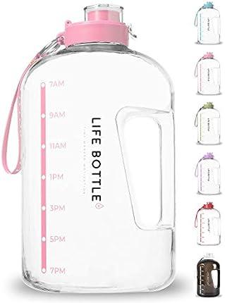Life Bottle! Botella de agua con marcador de tiempo – Botella de agua de 1 galón con marcador de tiempo – Botella de agua extragrande/jarra de agua que te ayuda a beber más agua. Botella de agua sin BPA con tapa abatible a prueba de fugas.