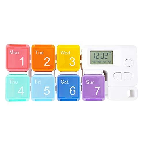7 Days Pill Dispenser Organizer with Reminder Alarm - CozyCabin Portable Travel Vitamins Medicine Box Case(Rainbow)