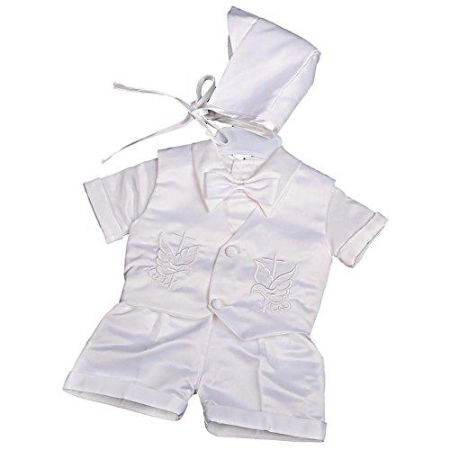 Lito Angels - Traje de bautizo para bebé (4 piezas, satén, mangas cortas/largas) Blanco Blanco (manga corta) 12 meses