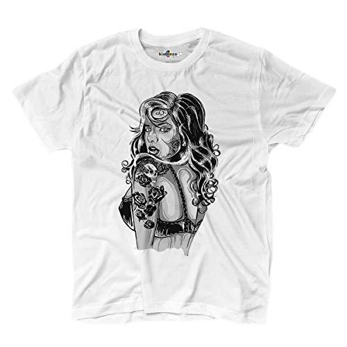 KiarenzaFD Maglietta T-Shirt Tatuaggi Tattoo Ink Old School Pin Up Showgirl Bianco Nero XXL White