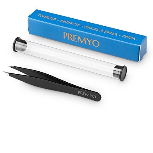 PREMYO Augenbrauen-Pinzette für Eingewachsene Haare Splitter Präzisionspinzette Profi Zupfpinzette Spitz mit Etui Edelstahl Rostfrei Sicheres Greifen