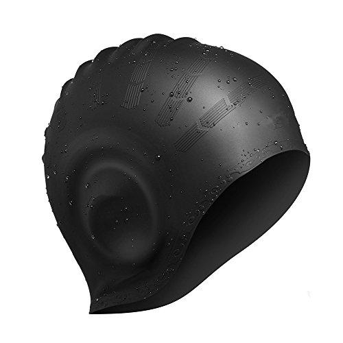 Avril Tian Gorro de natación de silicona impermeable unisex gorro de natación con cubierta para las orejas para mujeres y hombres para deportes acuáticos (negro)