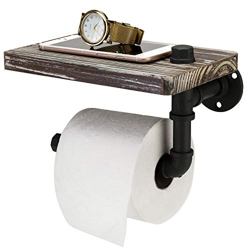 MyGift Industrial-Style Wall-Mounted Pipe Toilet Paper Holder with Torched Wood Shelf