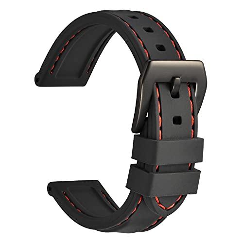 WOCCI 22mm Impermeabile Cinturino per Orologio da Uomo in Silicone con...