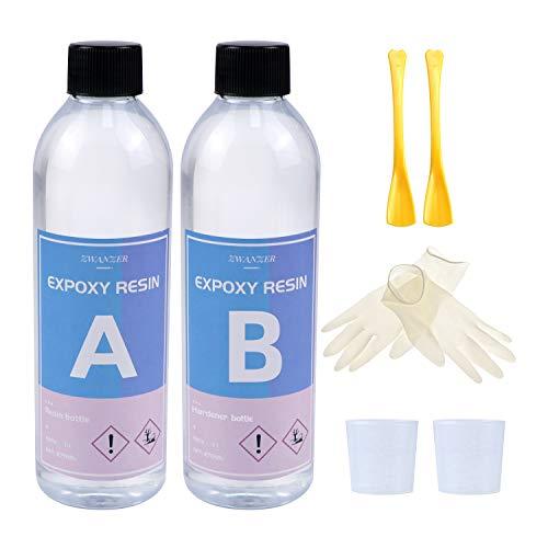 Epoxidharz Glasklar Gießharz Set 600g/540ml - Epoxy Resin, 1:1 Verhältnis Epoxidharz mit Härter zum Schmuckherstellung, Malerei, Handwerk & Deko Tischplatte