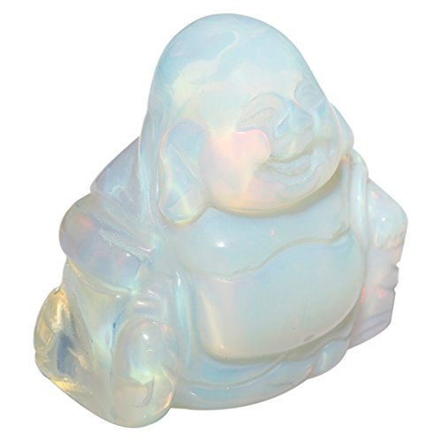 mookaitedecor Opalite Happy Buddha Crystal Figurine Carved Statue Pocket Stone Home Decoration 1.5 inch