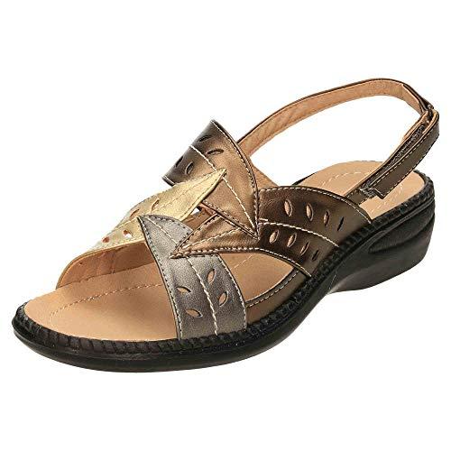 Cushion-Walk Slingback Open Toe Sandals Flexible Wedge Metallic Multi 5 UK