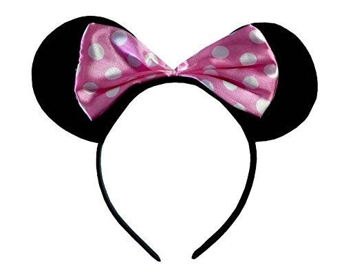 (Minnie Mouse Alice Ears) zwart met rood en witte potten satijn boog Minnie Mouse Disney kostuumwinkels haarband