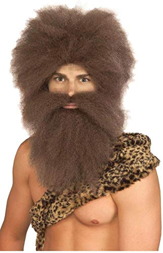 Forum Caveman Wig and Beard Set, Brown, One Size
