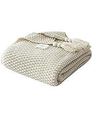 UnvfRg Nordic Handgemachte Strickdecke, modischer Überwurf, für Sofa, Bett und als Zudecke