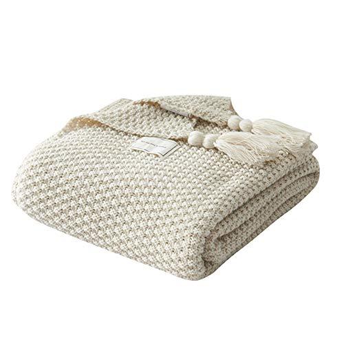 UnvfRg Nordic Handgemachte Strickdecke, modischer Überwurf, für Sofa, Bett und als Zudecke, Polyester baumwolle, beige, 130x170cm