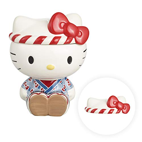 Omatsuri Ceramic Cookie Jar with Airtight Lid - Cute Cat Decorative Cookie Container - Kitchen Food Storage Holder - Large Unique Canister for Biscuit, Candy, Snack, Sweets, Baked Treats and Pancakes