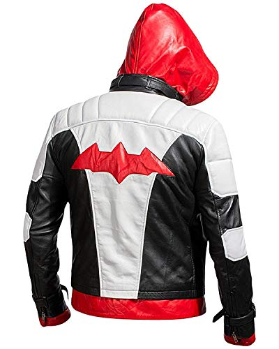 LP-Facon Batman Arkham Knight Jason Todd Fledermaus Logo rote Kapuze Kostüm Biker Lederjacke Gr. XL, multi