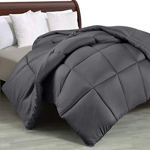 Utopia Bedding Comforter Duvet Insert - Quilted Comforter with Corner Tabs - Box Stitched Down Alternative Comforter (Queen, Grey)