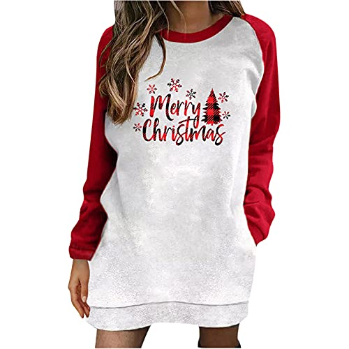 Womens Christmas Long Pullover Tops Santa Claus Sweatshirt Long Sleeve Oversize Tunic Casual Loose Fit Graphic Tshirt