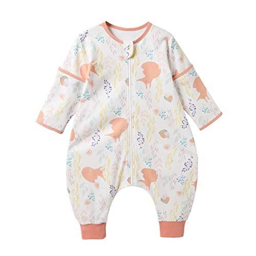 Bebé Saco de Dormir Algodón Bolsa de Dormir con Piernas 1.5 Tog Mameluco Primavera Verano Pijamas Desmontable Manga Larga para Niños Niñas, 18-24 Meses