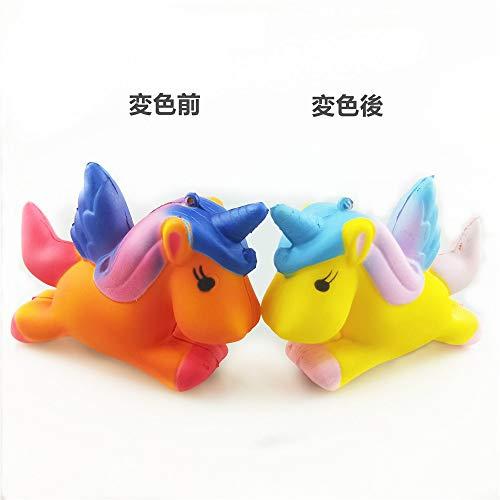 Jiokuy 温感変色 スクイーズ ペガサス 低反発 パンダ パン 4点 セット 可愛い squishy toys ストラップ 香りつき 子供 プレゼント
