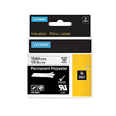 """DYMO Authentic Industrial Permanent Labels for LabelWriter and Industrial Label Makers, Black on White, 1/2"""", 1 Roll (18483), DYMO Authentic"""