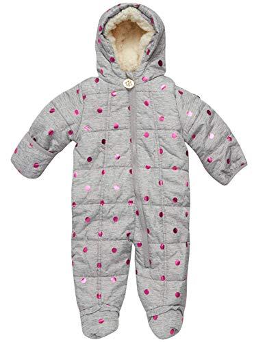 DKNY Baby Girls Cozy Puffer Fully Sherpa Fur Lined Snowsuit Pram with Fur Trim Hood (Infant/Newborn) (Heather Grey, 3-6 Months)