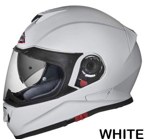 SMK Twister Designer Full Face Helmet Unicolour White (GL100) , White