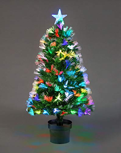 Gifts 4 All Occasions Limited 2ft 60cm Firework Pre-Lit Fibre Optic Christmas Tree Various Multicolour Light Effects Holiday Xmas Home Decorations, Green