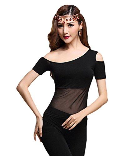 YiJee Damen Bauchtanz Tops Shirt Aus Schulter Belly Dance Bluse Schwarz 1 M