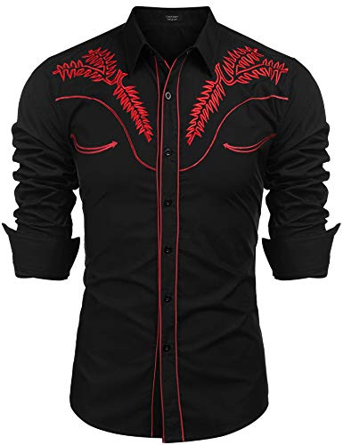 COOFANDY Men's Western Shirts Long Sleeve Slim Fit Embroideres Casual Cotton Button Down Shirt