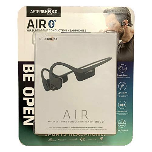AfterShokz Trekz Kopfhörer mit offenem Ohr, kabellos, Knochenleitung, mit tragbarer Aufbewahrungstasche, Air Slate Grey