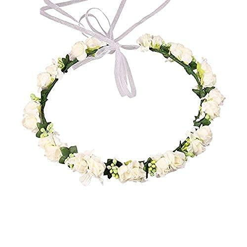 Reccisokz Corona de Hadas con Flores y Cinta Ajustable para niñas Blanco