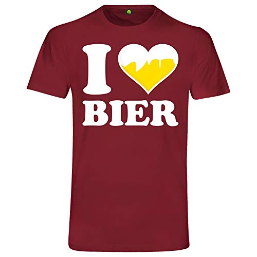 I Love Bier T-Shirt | Ich Liebe | Beer | Alkohol | Saufen | Party | Weizen Bordeaux Rot M