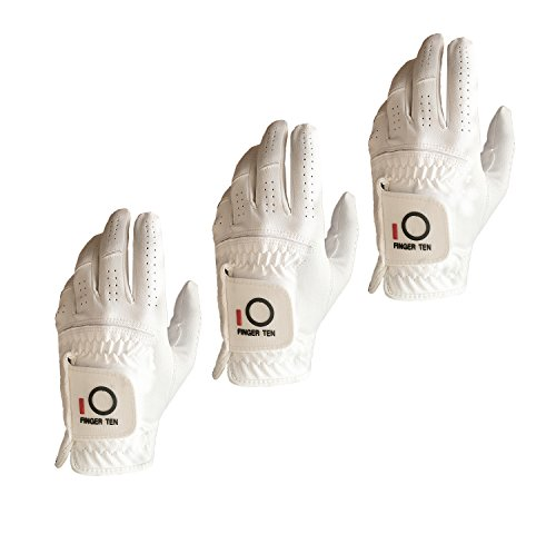 FINGER TEN Mens Golf Glove Rain Grip Value 3 Pack, Black White Left Hand Fit Right Handed Golfer, All Weather Durable Grip Size Small Medium Large XL (White, X-Large)