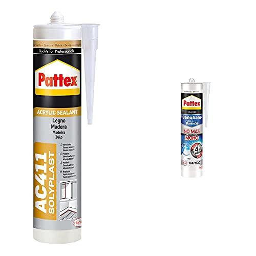 Pattex Silicona AC 411, silicona acrílica para madera tipo roble, 300 ml + Baño Sano No Más Moho, silicona antimoho e impermeable, silicona blanca duradera para cocina y baño