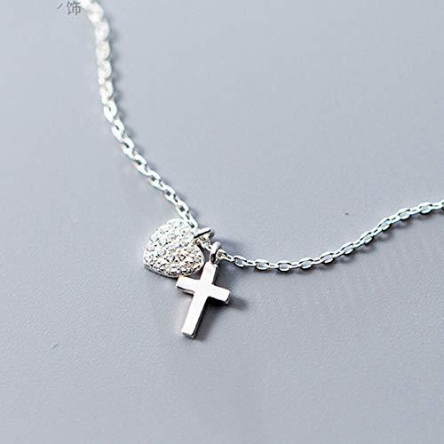 qwertyuio Collar para Mujer 925 Sólida Plata Esterlina Auténtica Cruz Colgante Cz Collar De Clavícula Corta para Mujer Niña Regalos Da16