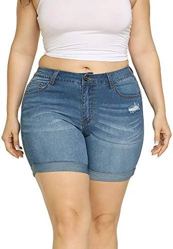 Allegrace Women s Plus Size Denim Shorts High Waist Folded Hem Pockets Jeans Shorts Light Blue product image