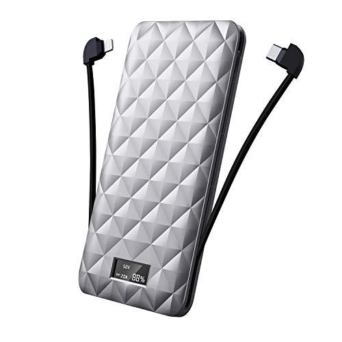 iWALK Externer Akku mit LCD Display 10000mAh Power Bank, Quick Charge Tragbare Kompakt Errichtet im Type C & Kabel Tragbares Ladegerät Kompatibel mit iPhone XS Max X 8 7, S8 S7 usw