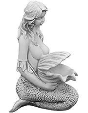 gartendekoparadies.de Masssieve stenen figuur zeemeermin Nixe optioneel waterdiner gegoten steen vorstbestendig