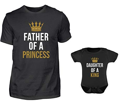 Vater Baby Partnerlook Set Tshirt Baby Body Strampler Set Father of A Princess Daughter of A King Rundhals Vater Tochter (L & 0-6 Monate)