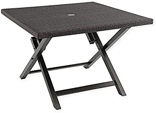 Barrington Wicker 42-Inch Square Folding Patio Table (Brown)