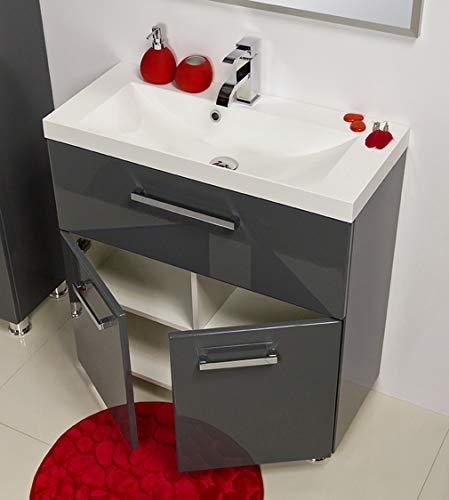 Quentis Badmöbel Tango, bodenstehend, Breite 80 cm, 2-teilig, anthrazit glänzend, Waschbecken mit Unterschrank
